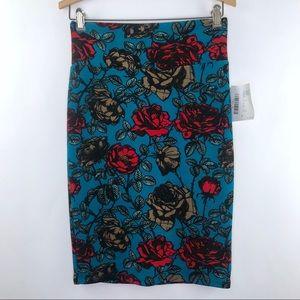 LuLaRoe Cassie Rose Print Skirt NWT